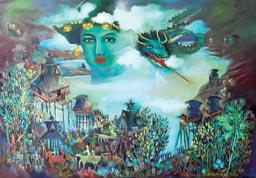 """Lukisan """"Tanah Karo dan Gunung Sinabung"""""""