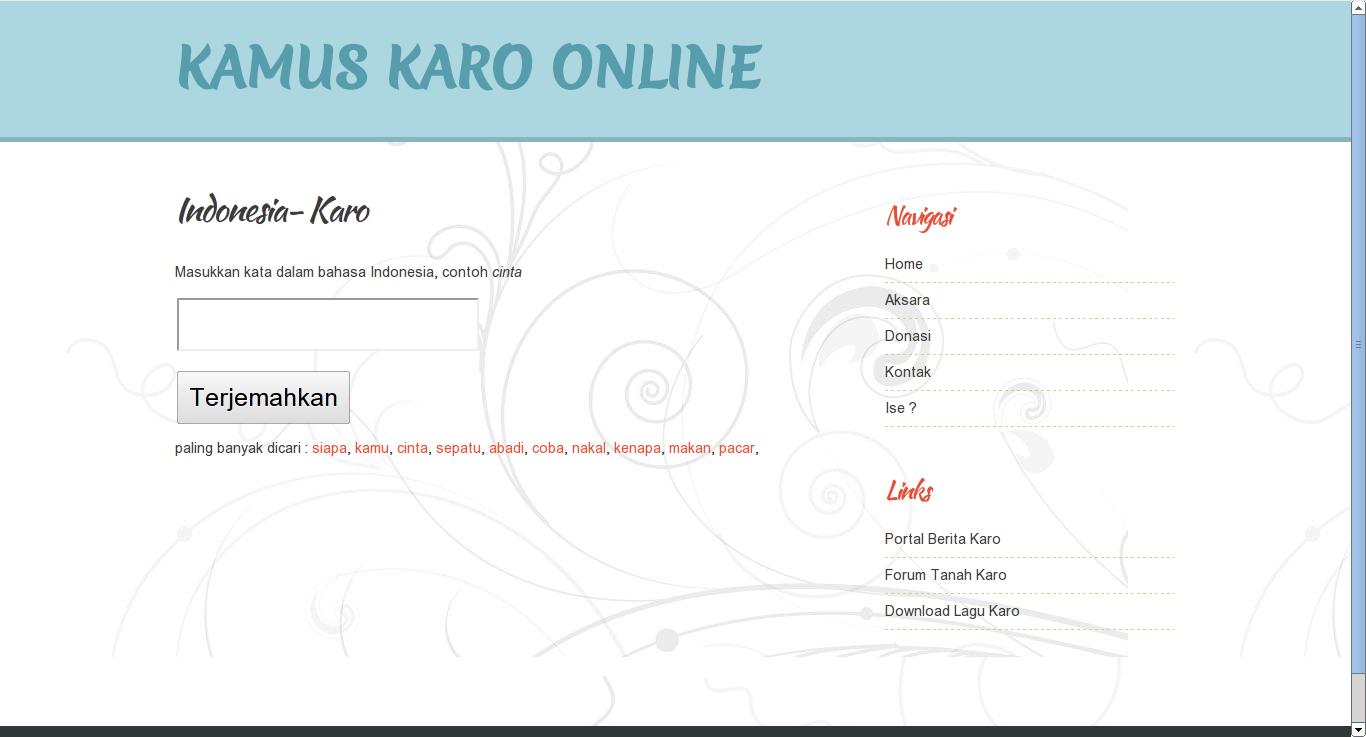 Website Kamus Karo Online