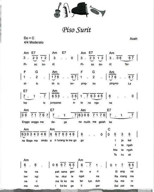 Teks dan Chord Lagu Piso Surit